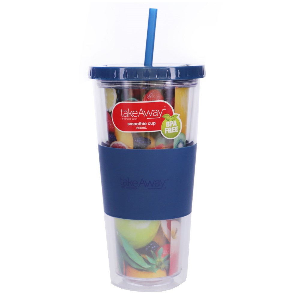 TakeAway Out Smoothie Cup 600ml Blue