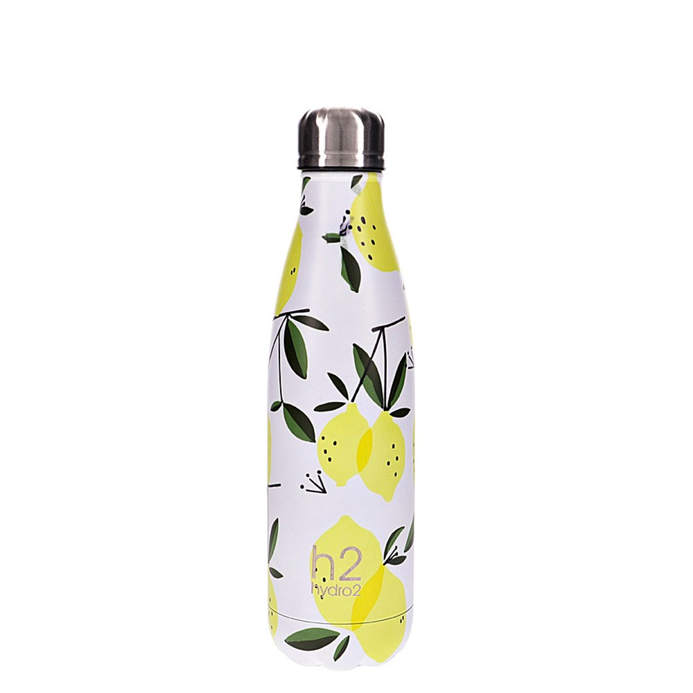 h2 hydro2 Togo Vacuum Double Wall Stainless Steel Water Bottle 500ml Lemon