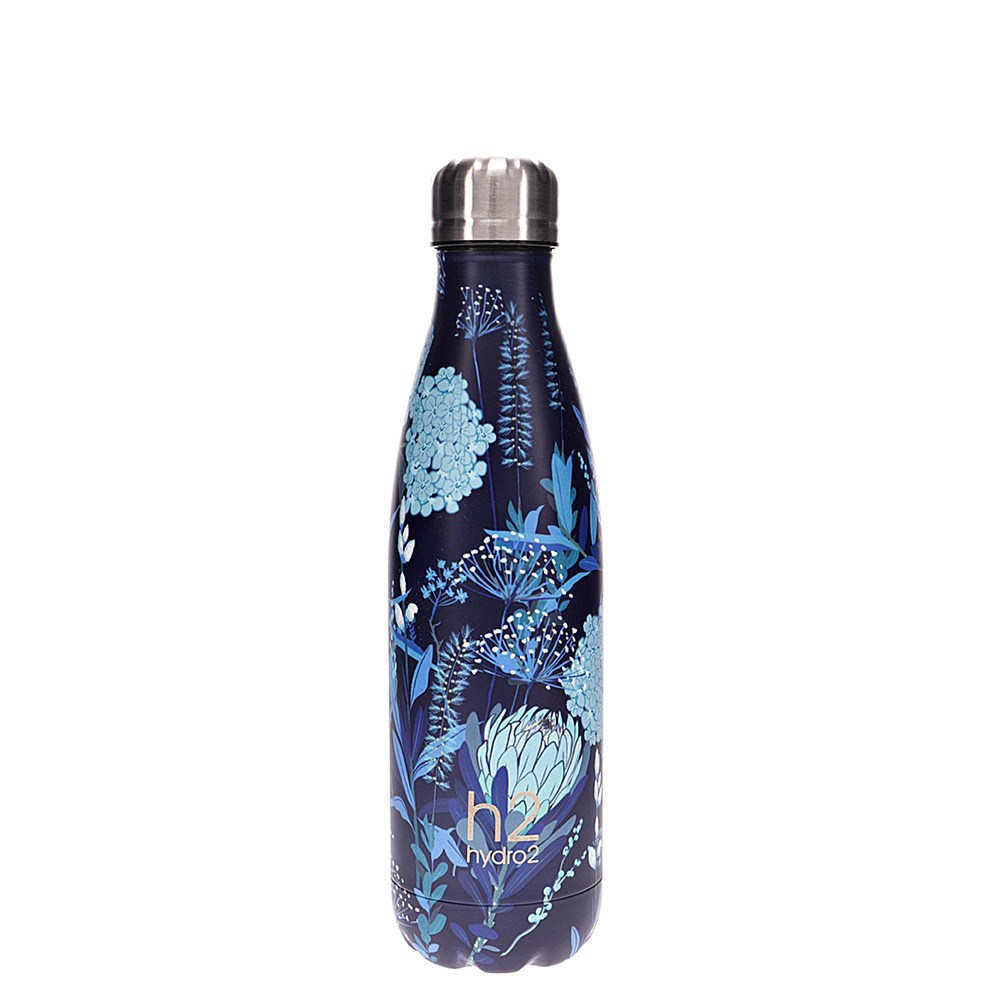 h2 hydro2 Togo Vacuum Double Wall Stainless Steel Water Bottle 500ml Flower