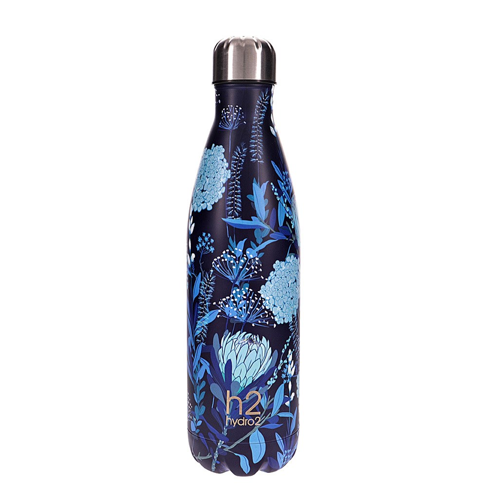 h2 hydro2 Togo Vacuum Double Wall Stainless Steel Water Bottle 750ml Flower
