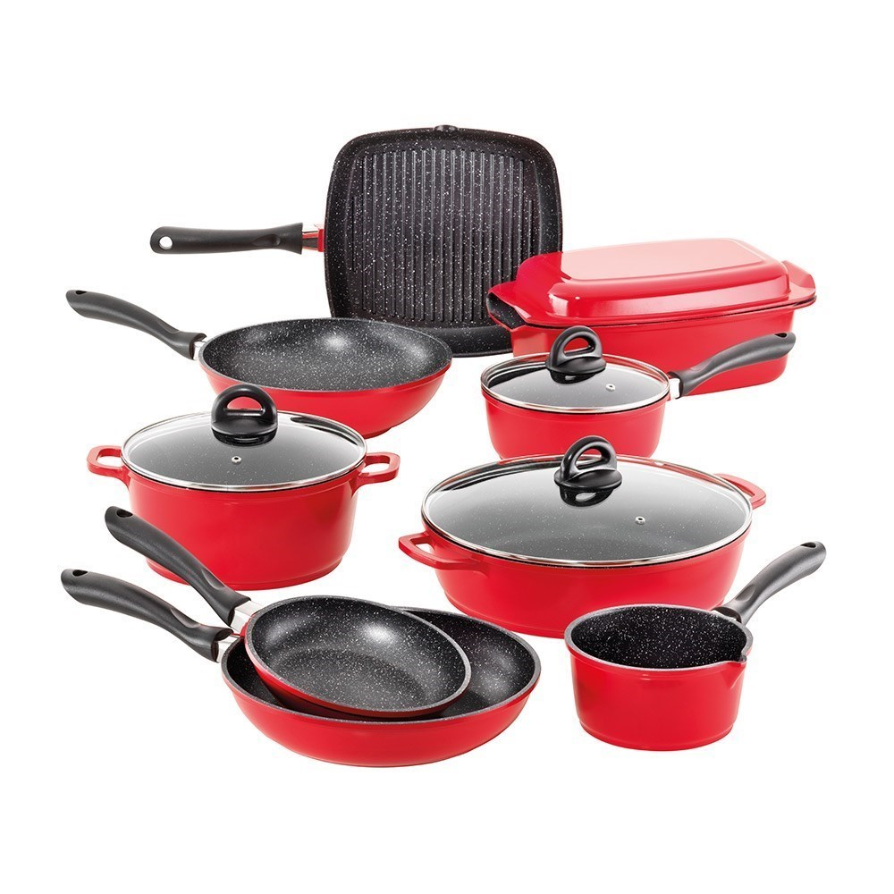 Baccarat STONE Cast Aluminium Non Stick 10 Piece Cookware Set Red