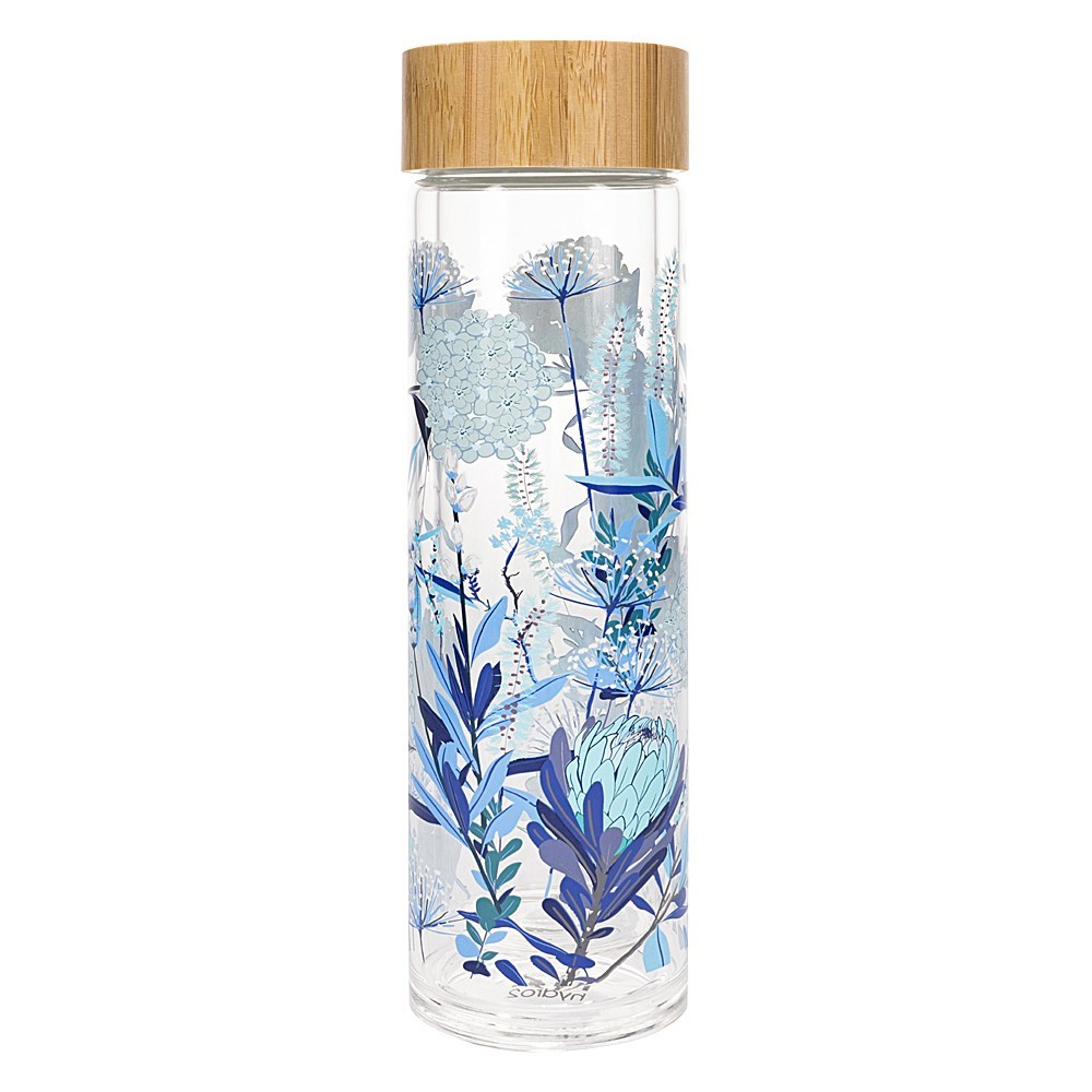 h2 hydro2 Togo Double Wall Glass Water Bottle 400ml Flower