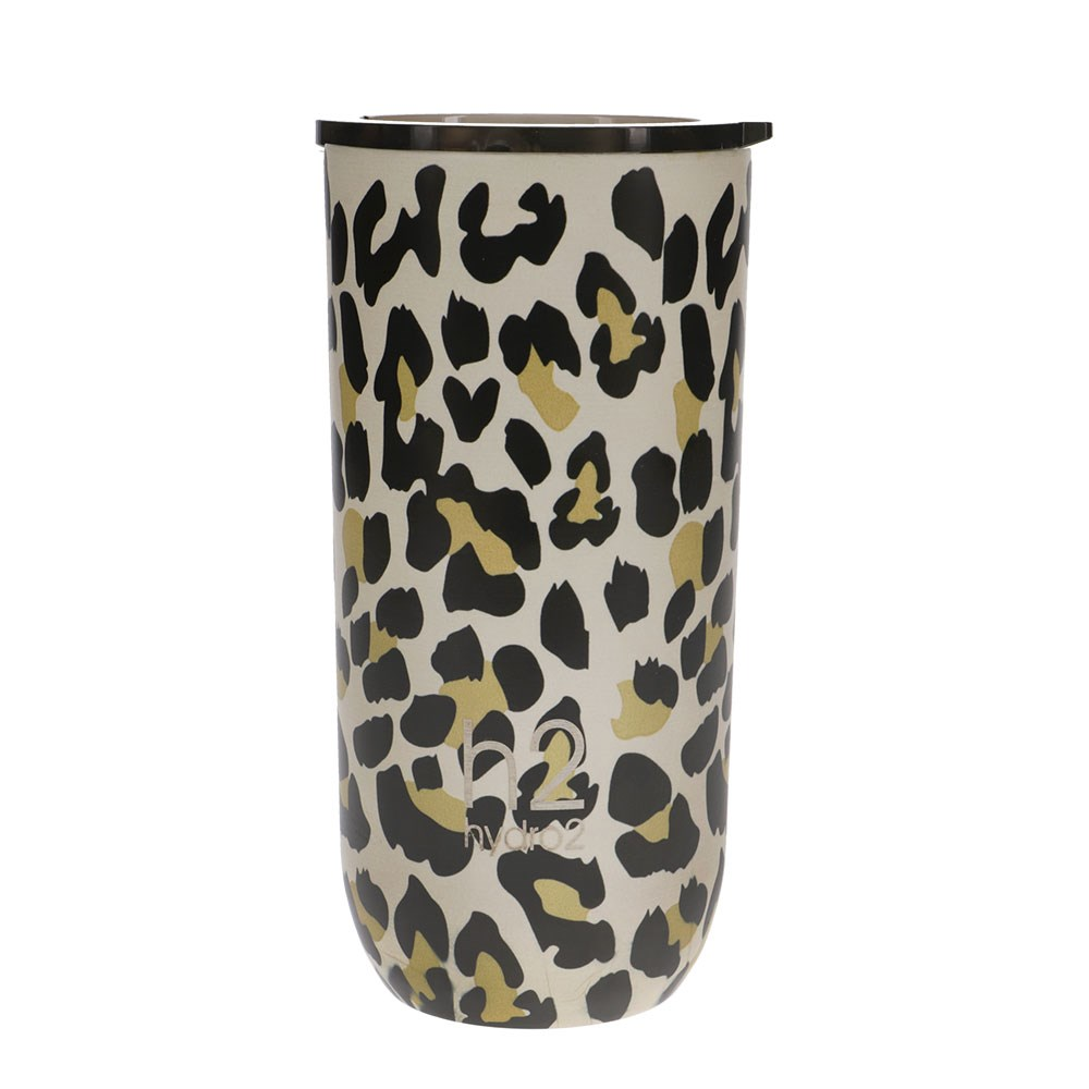 h2 hydro2 Togo Double Wall Stainless Steel Coffee Cup 480ml Leopard