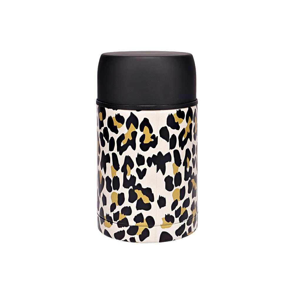 h2 hydro2 Togo Double Wall Stainless Steel Food Jar 800ml Leopard
