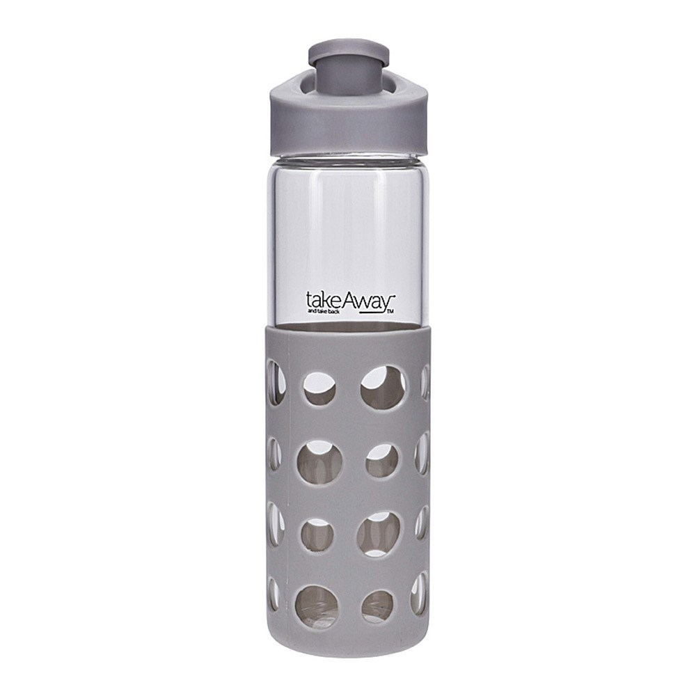 TakeAway Out Glass Water Bottle 550ml Grey