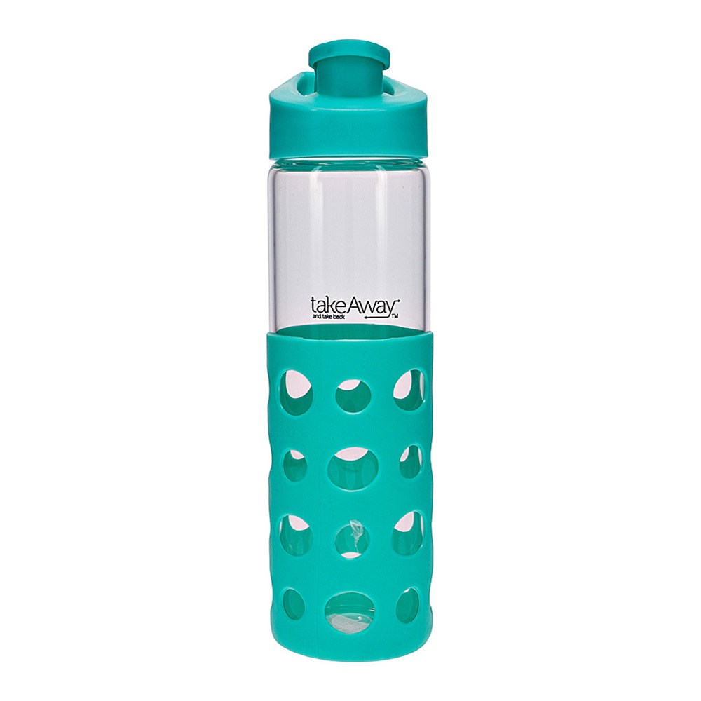 TakeAway Out Glass Water Bottle 550ml Mint Green