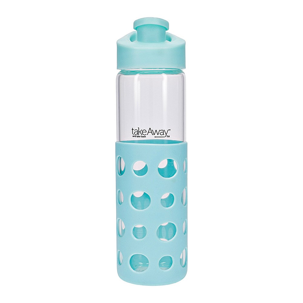 TakeAway Out Glass Water Bottle 550ml Blue