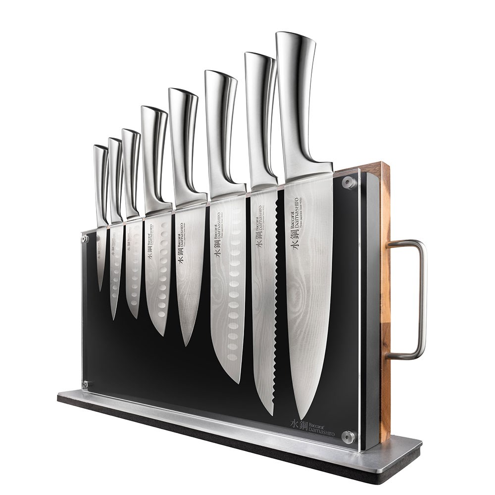 Baccarat Damashiro Bodo 10 Piece Japanese Steel Knife Block with Chopping Board