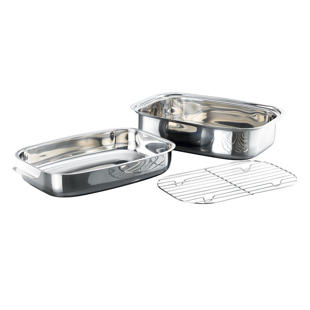 Baccarat Gourmet Stainless Steel Rectangle Roaster 36 x 24cm Silver