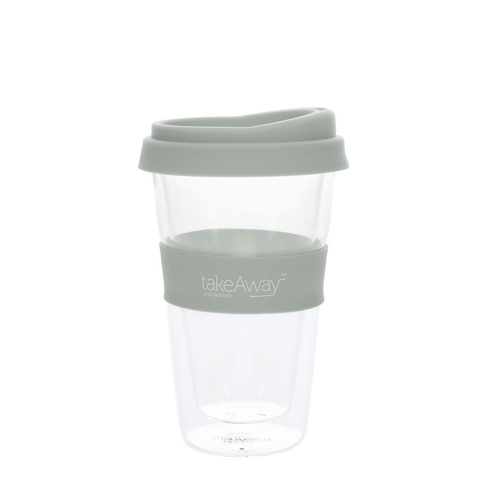 TakeAway Tali Double Wall Glass Coffee Cup with Lid 450ml Grey