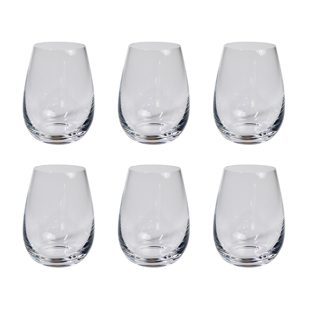 Alex Liddy Grand Cru 6 Piece Stemless White Wine Glass Set 550ml