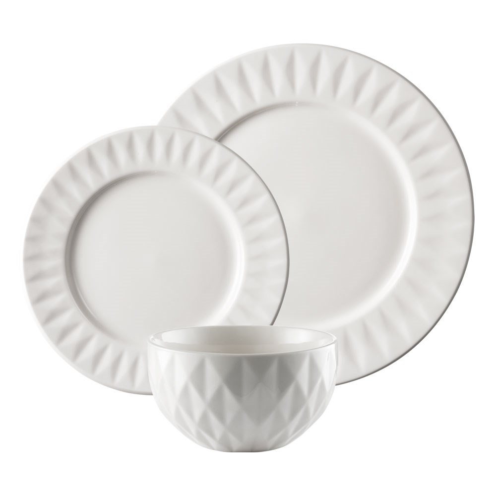Alex Liddy Diamond Dinner Set 18 Piece White