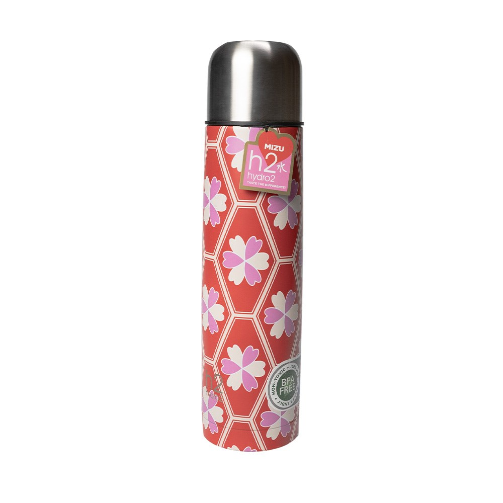 h2 hydro2 Mizu Stainless Steel Flask 1L Ume Red