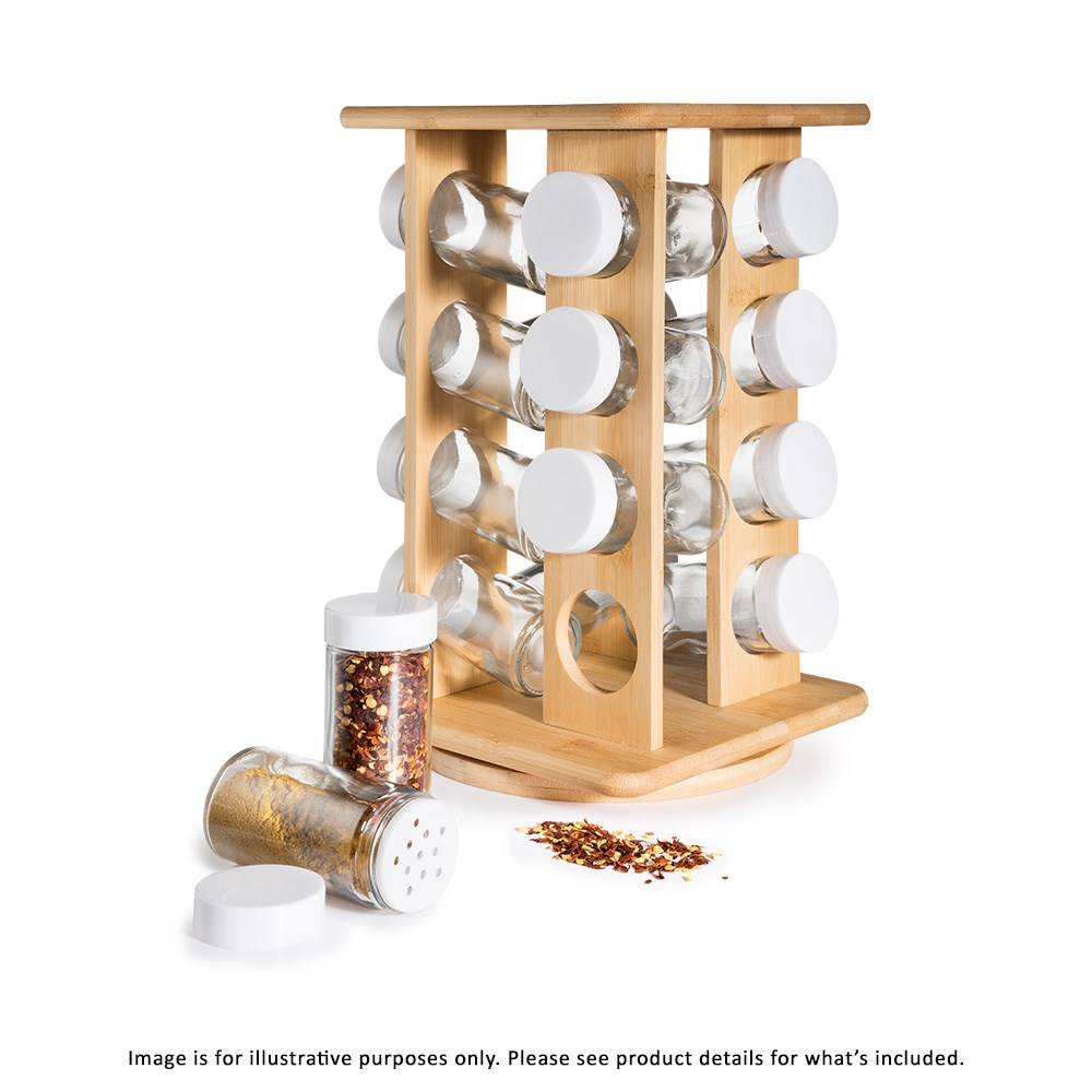 Scullery Bamboo 16 Jar Rotating Spice Rack