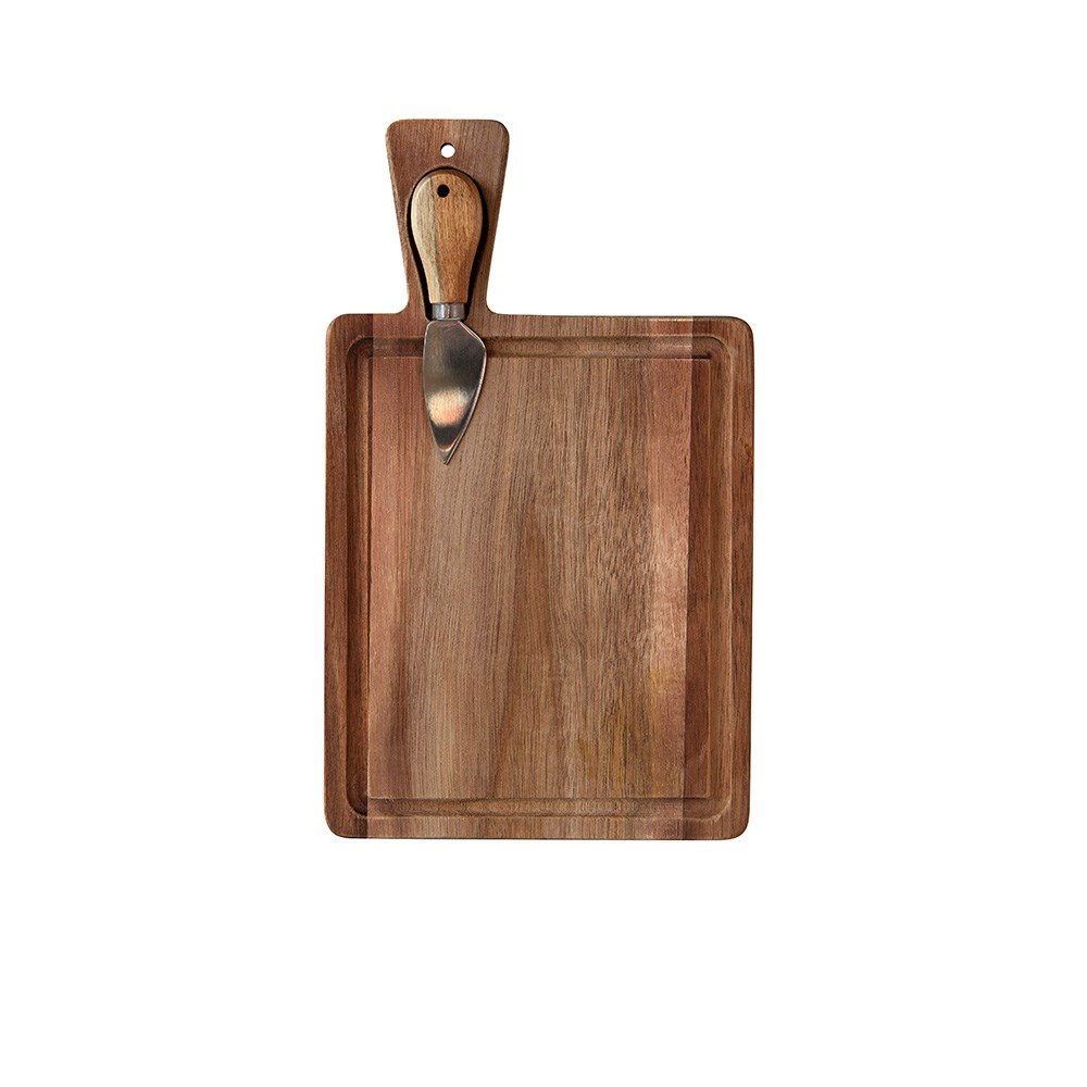 Alex Liddy Acacia Mini Rectangular Serving Board with Knife 18 x 22cm