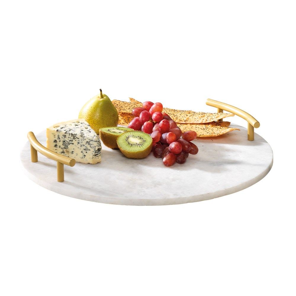Alex Liddy Slate & Co Round Marble Serving Board with Handles 40cm