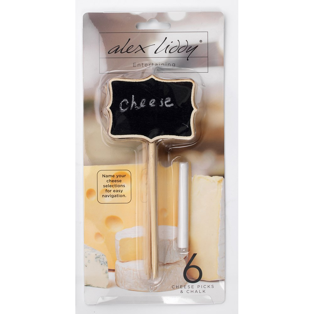 Alex Liddy Slate & Co Set of 6 Cheese Picks with Chalk