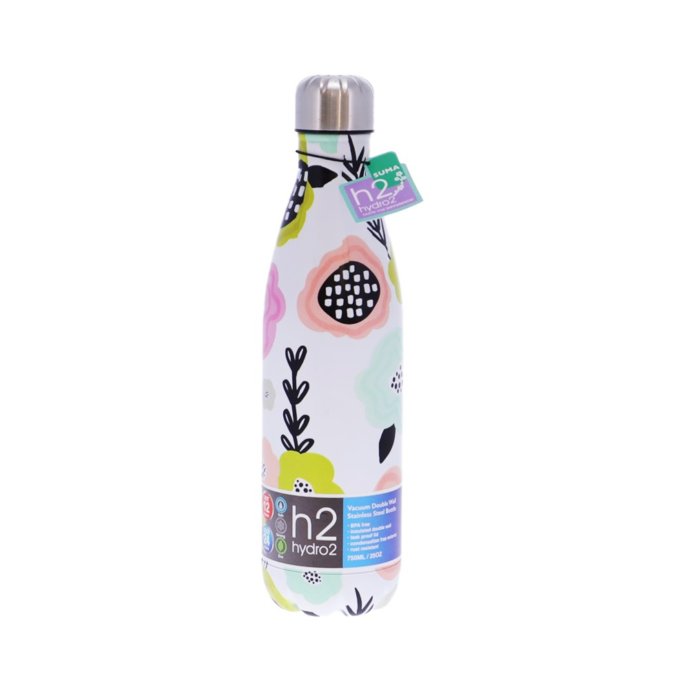 h2 hydro2 Quench Suma Double Wall Stainless Steel Water Bottle 750ml Bloom