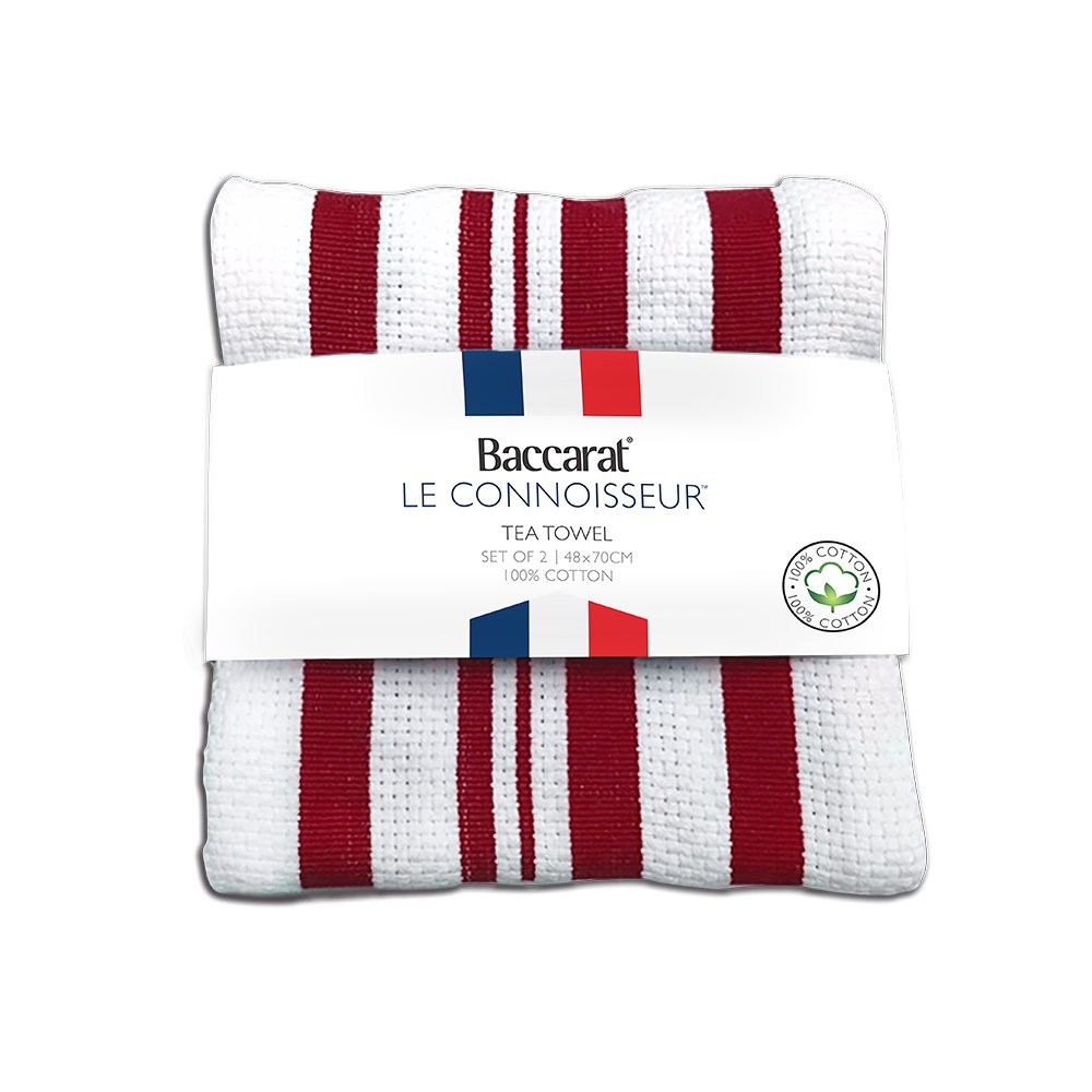 Baccarat Le Connoisseur Tea Towel Red stripe Set of 2
