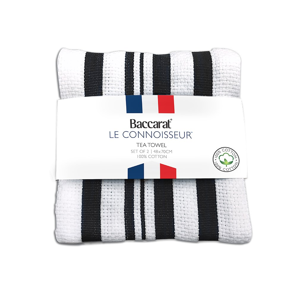 Baccarat Le Connoisseur Tea Towel Black stripe Set of 2