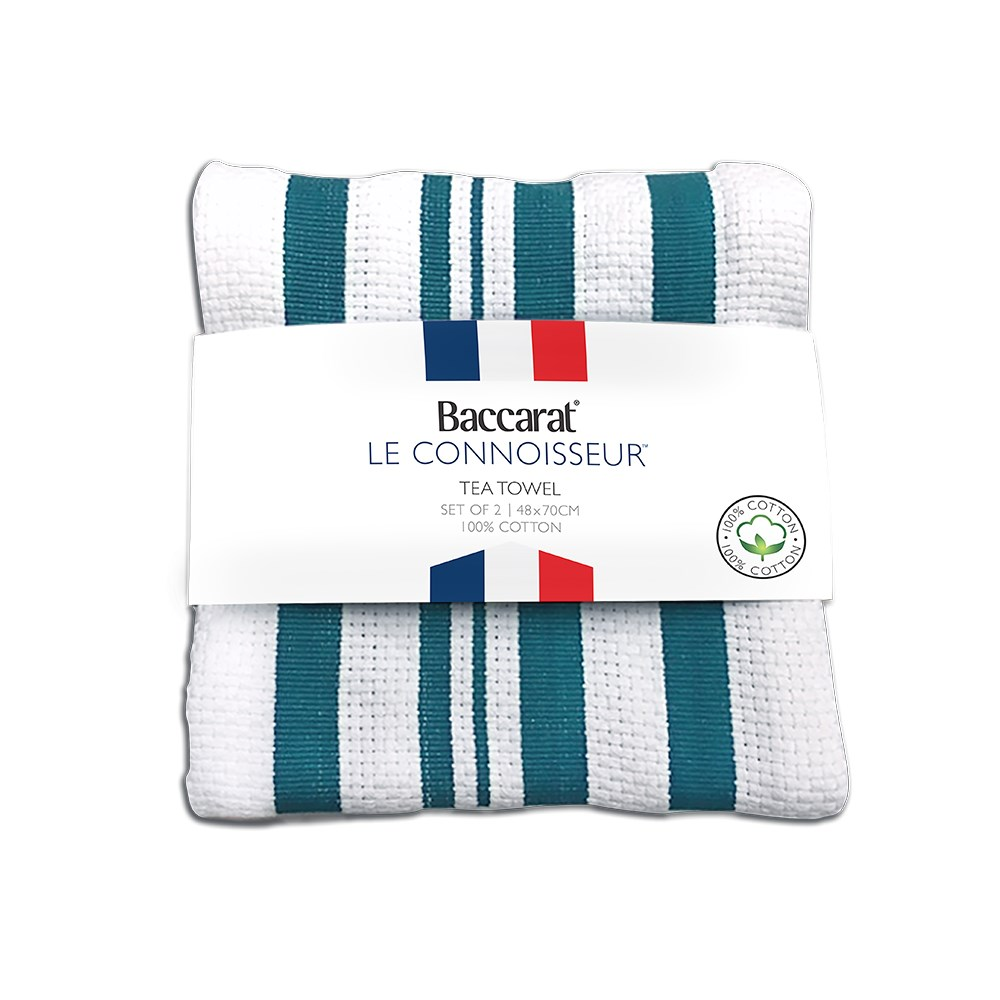 Baccarat Le Connoisseur Tea Towel Teal stripe Set of 2