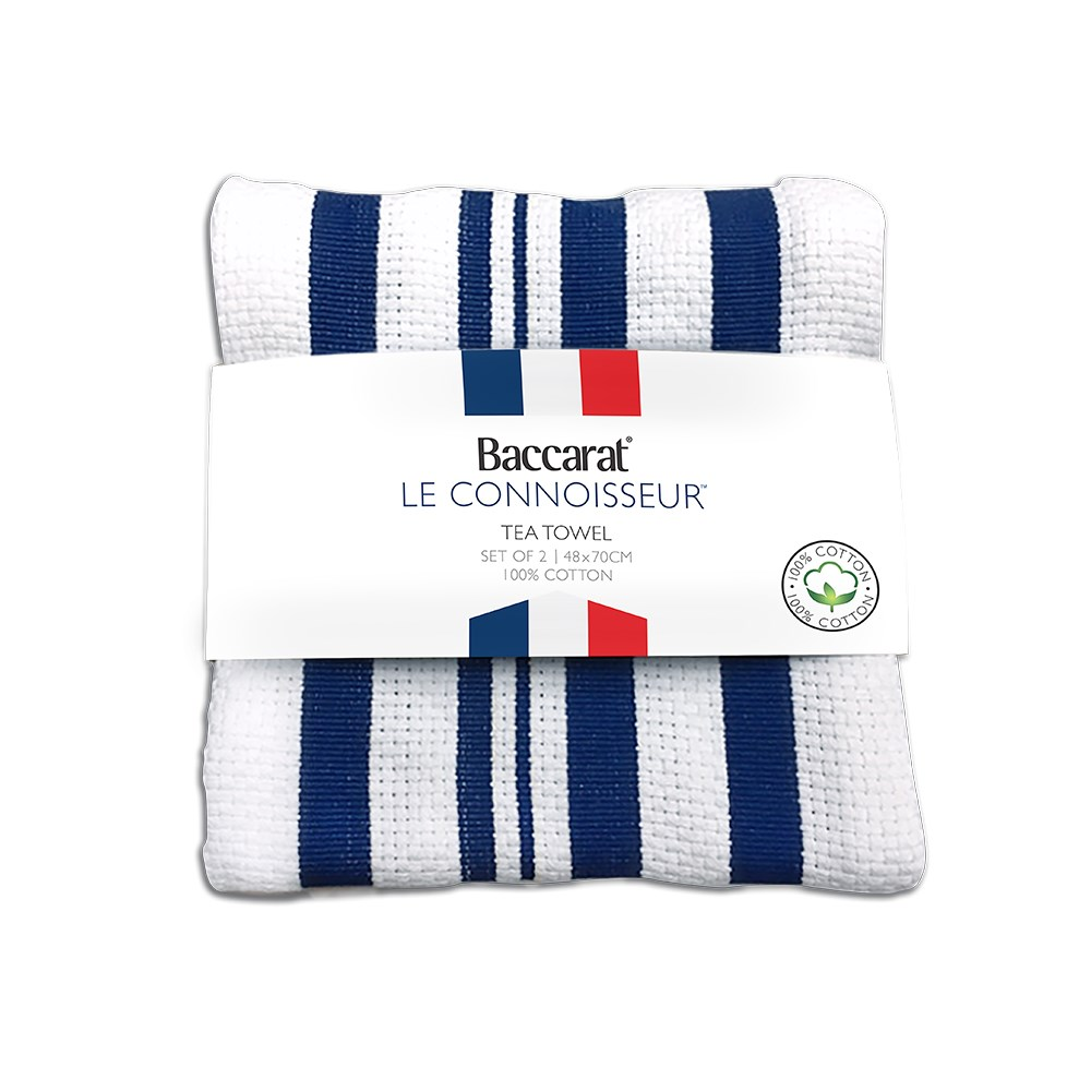 Baccarat Le Connoisseur Tea Towel Blue stripe Set of 2