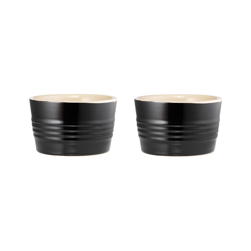 Baccarat Le Connoisseur Set of 2 Stoneware Ramekin 9cm Black