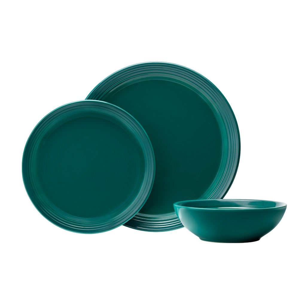 Baccarat Le Connoisseur 12 Piece Stoneware Dinner Set Teal