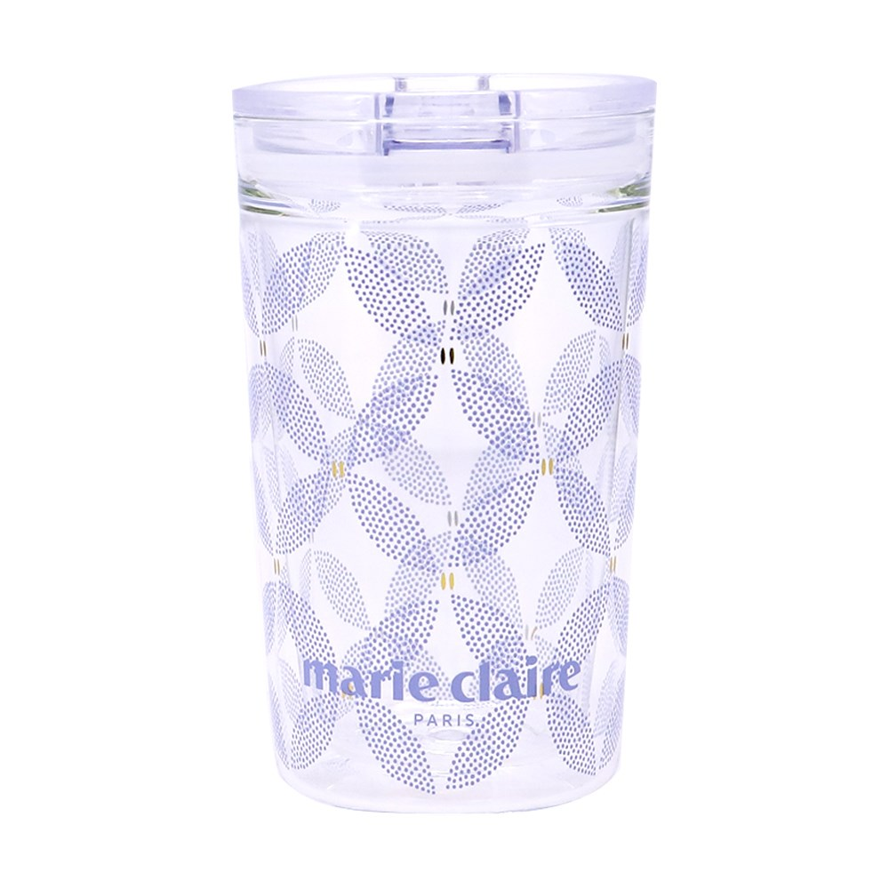 Marie Claire Jardin Champetre Double Walled Cup with Lid 380ml Clover