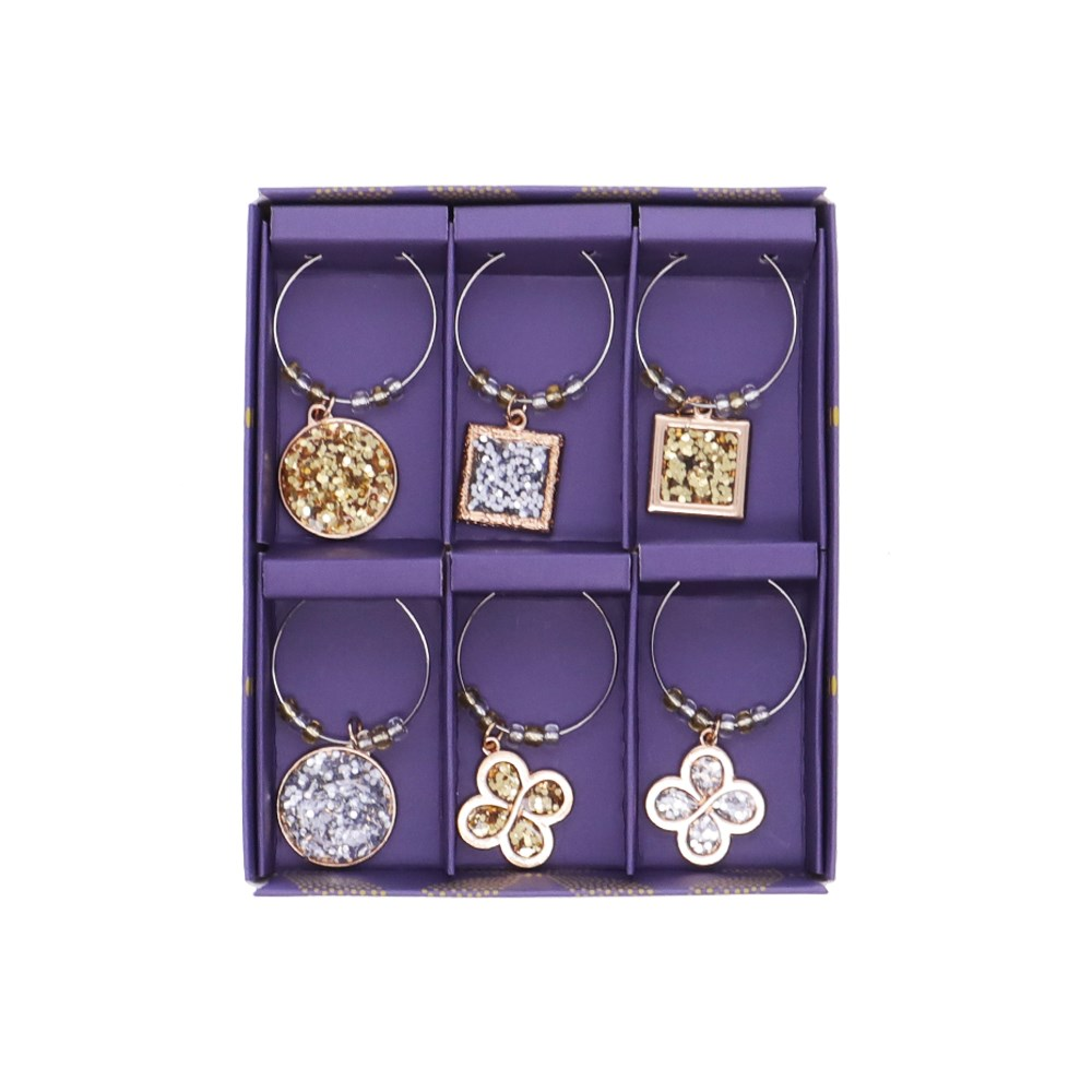 Marie Claire Jardin Champetre Set of 6 Wine Charms