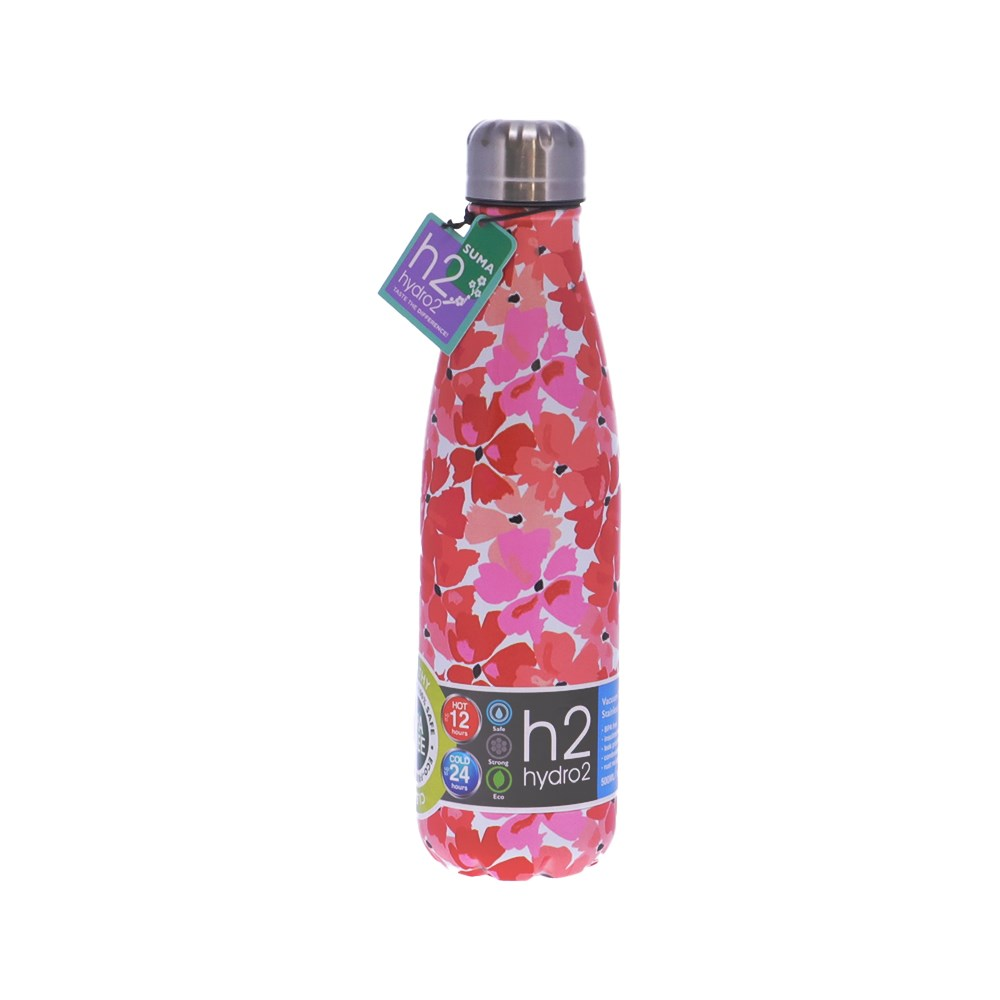 h2 hydro2 Suma Stainless Steel Water Bottle 500ml Red Floral