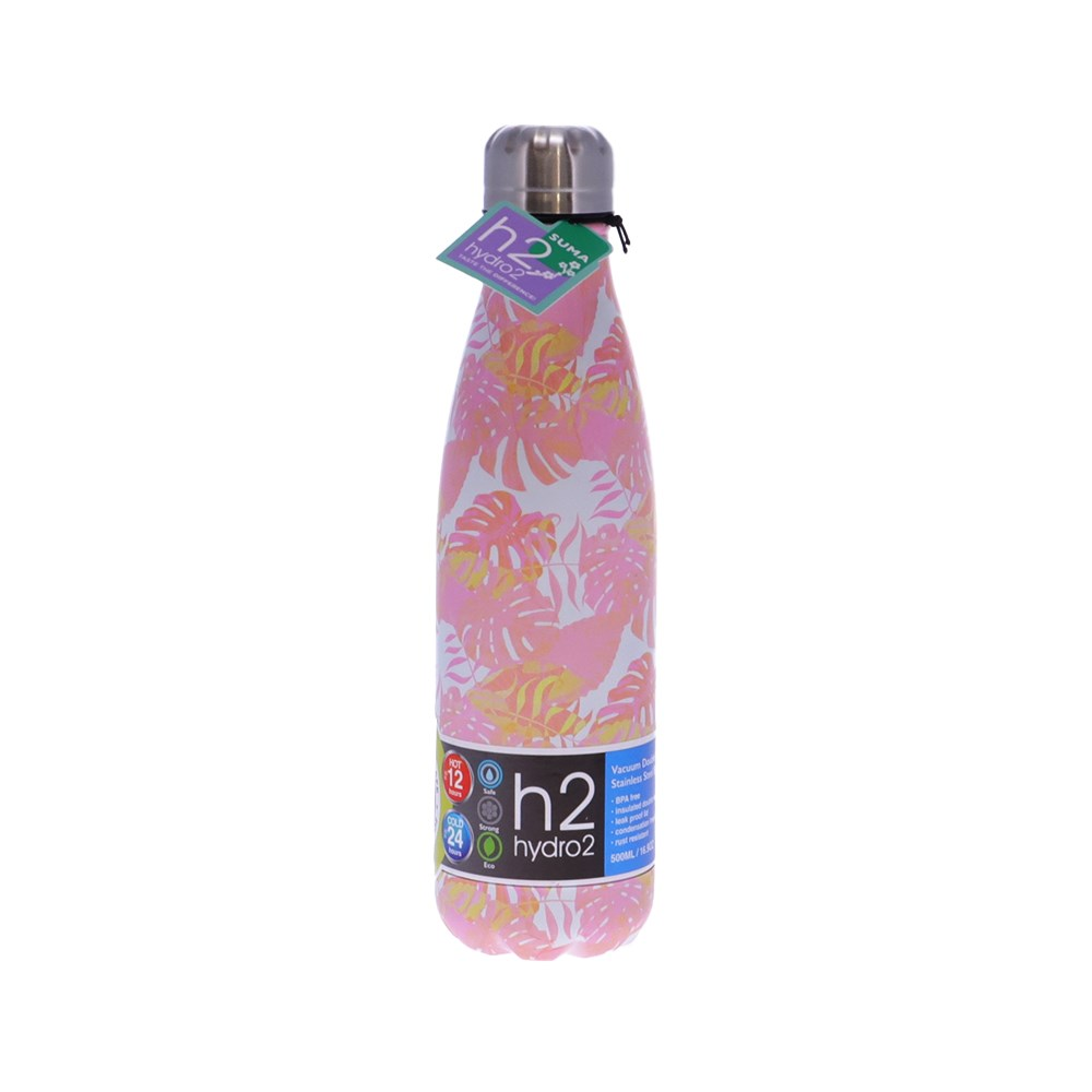 h2 hydro2 Suma Stainless Steel Water Bottle 500ml Pink Palm