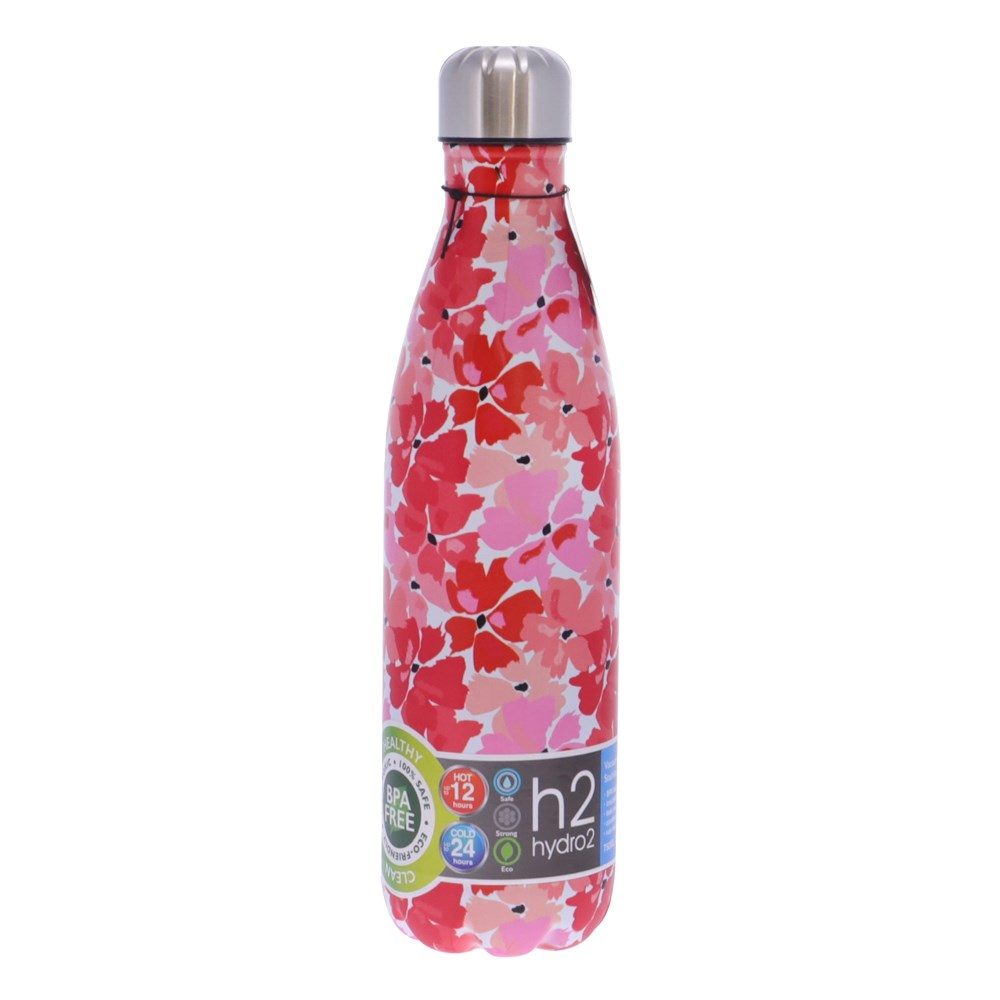 h2 hydro2 Suma Stainless Steel Water Bottle 750ml Red Floral