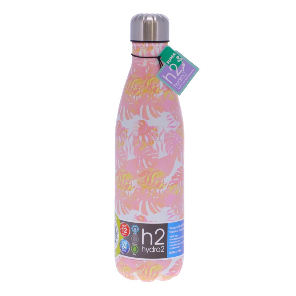 h2 hydro2 Suma Stainless Steel Water Bottle 750ml Pink Palm