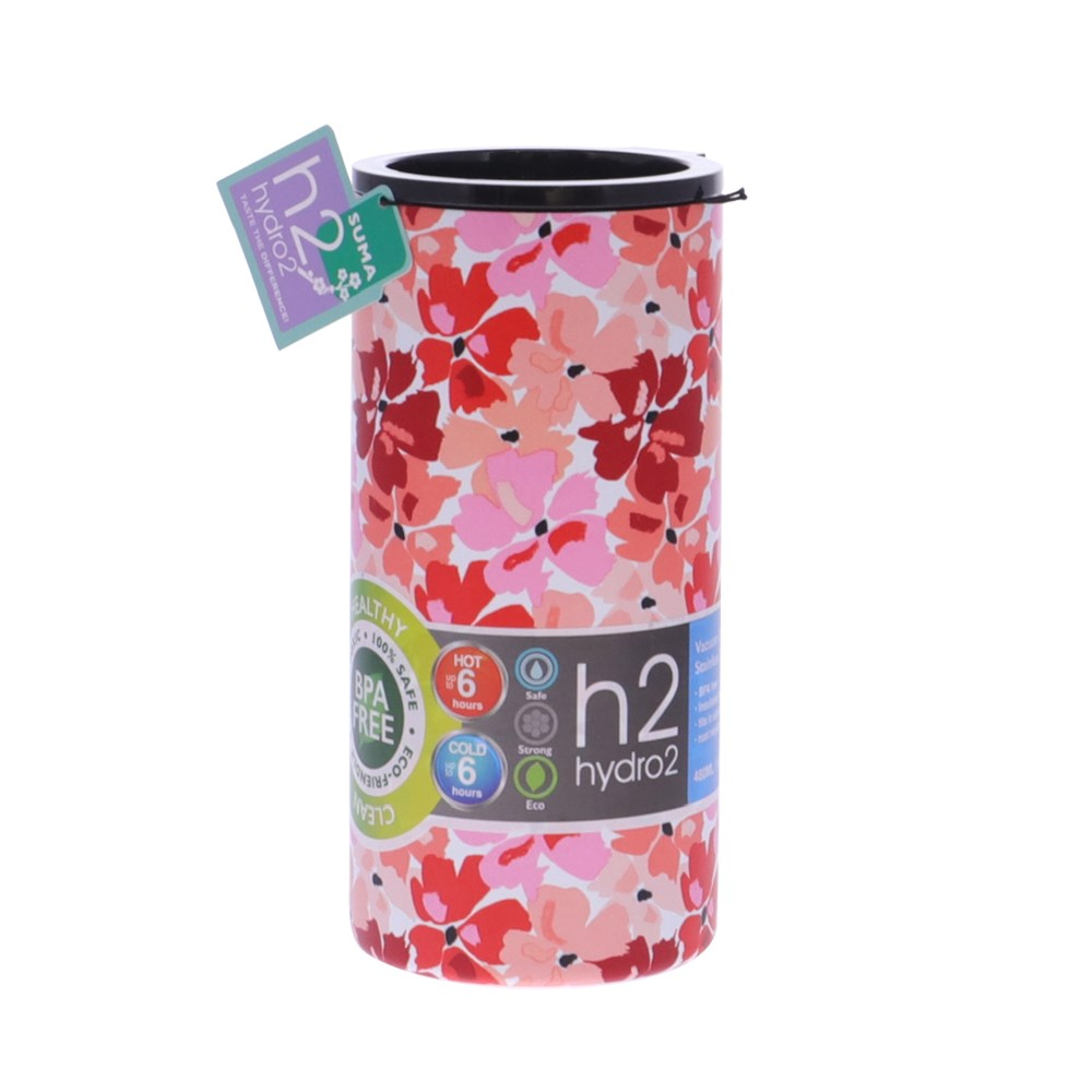 h2 hydro2 Suma Stainless Steel Travel Mug 480ml Red Floral
