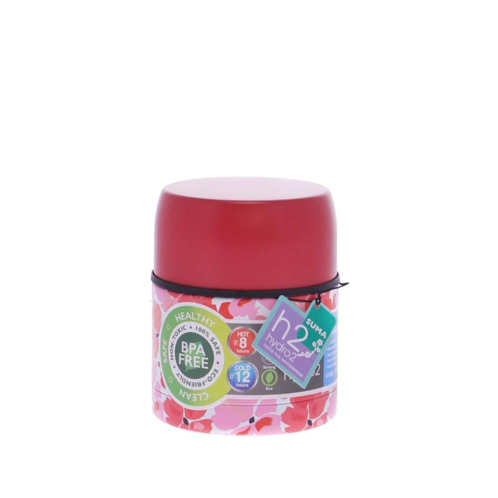 h2 hydro2 Suma Stainless Steel Food Jar 470ml Red Floral