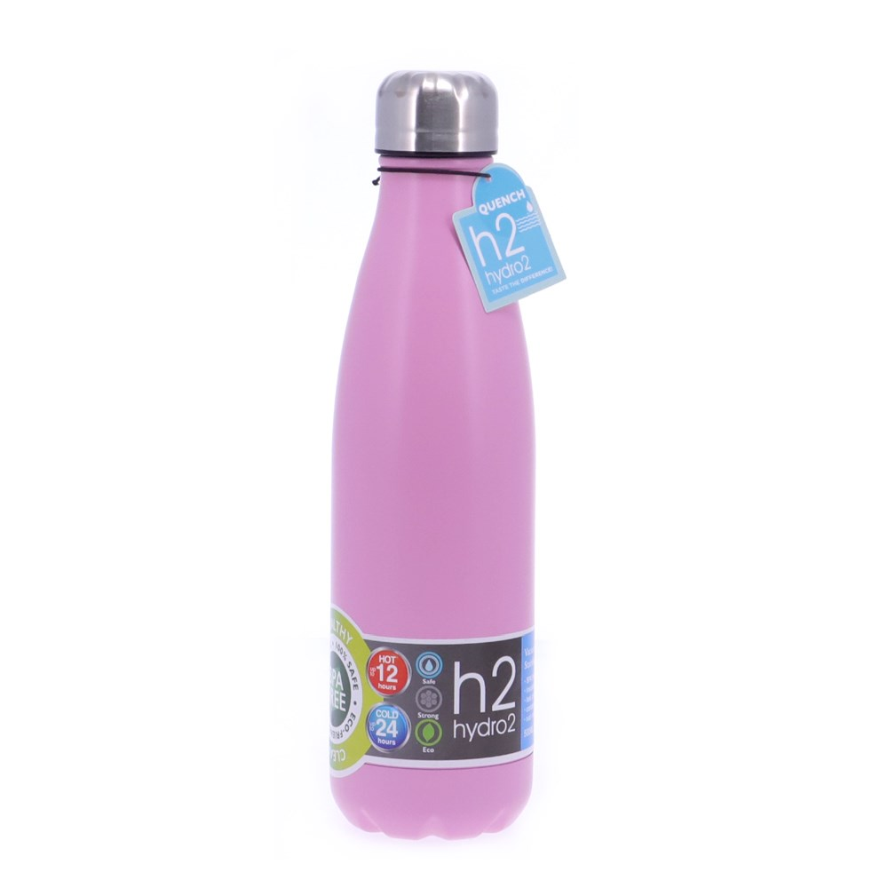 h2 hydro2 Quench Double Wall Stainless Steel Water Bottle 500ml Pink