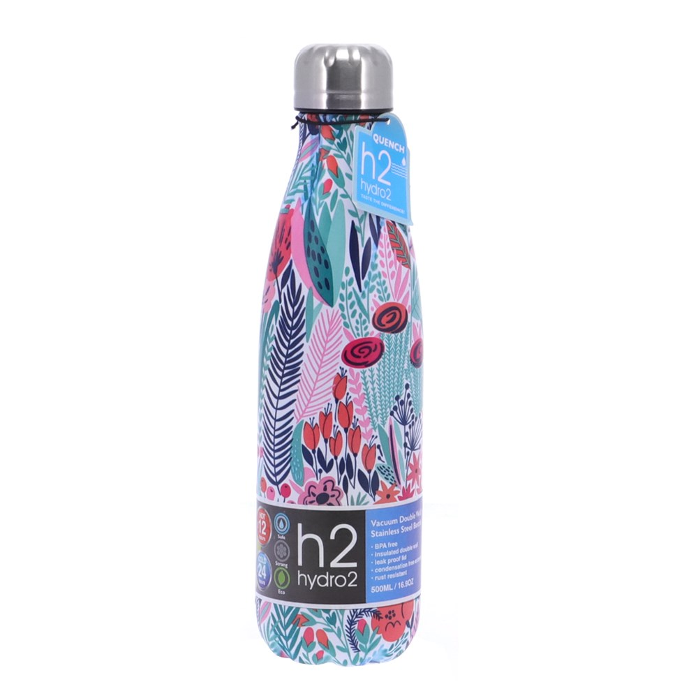 h2 hydro2 Quench Double Wall Stainless Steel Water Bottle 500ml Floral