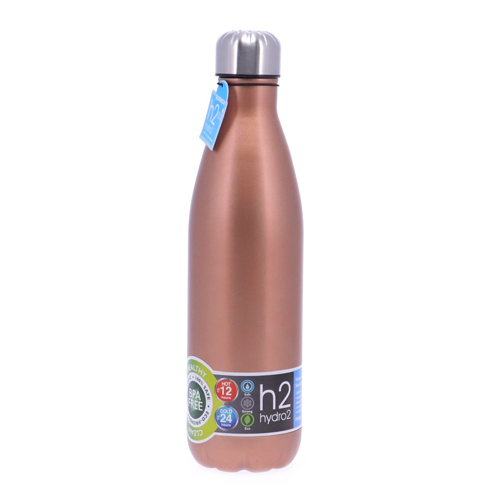 h2 hydro2 Quench Double Wall Stainless Steel Water Bottle 750ml Champagne