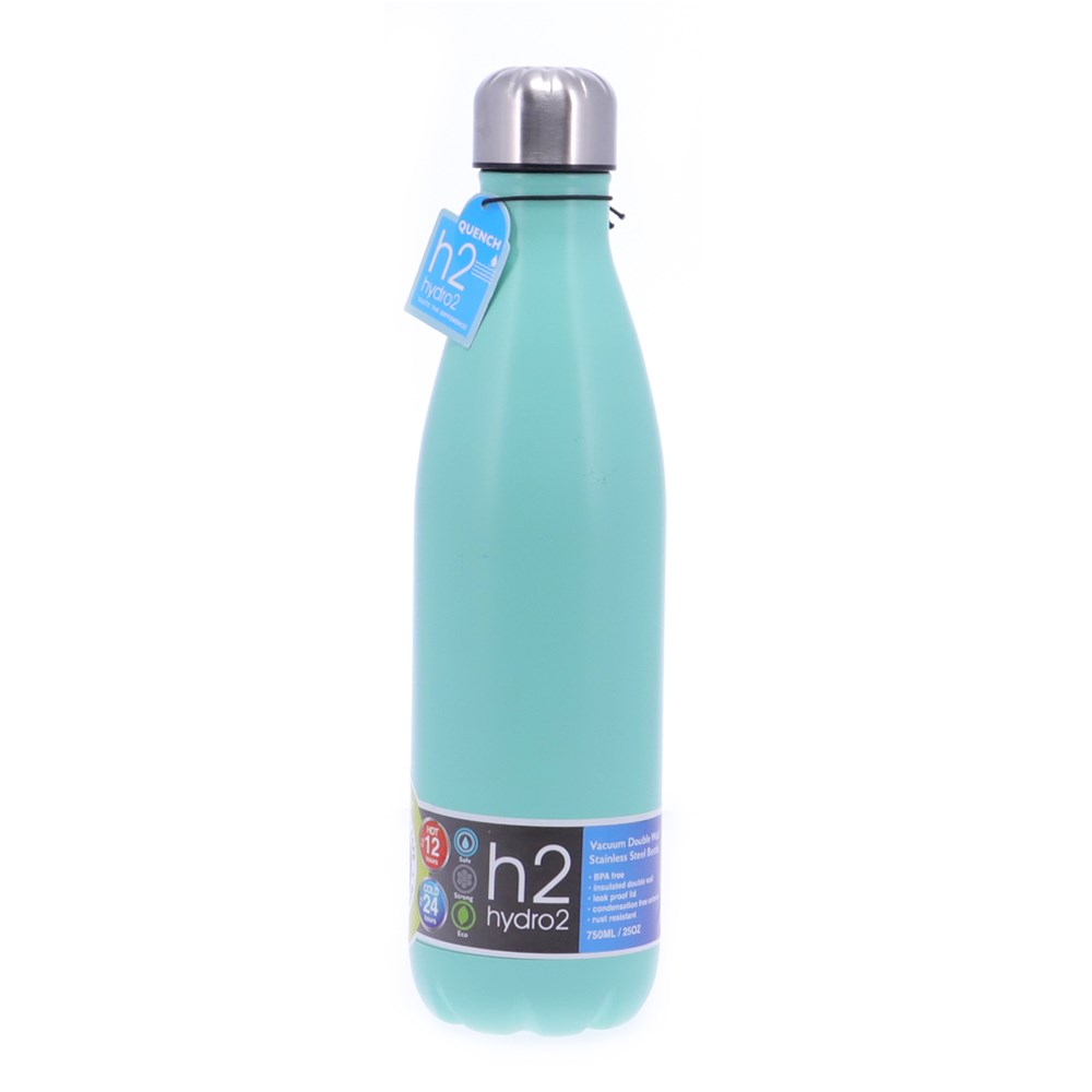 h2 hydro2 Quench Double Wall Stainless Steel Water Bottle 750ml Teal