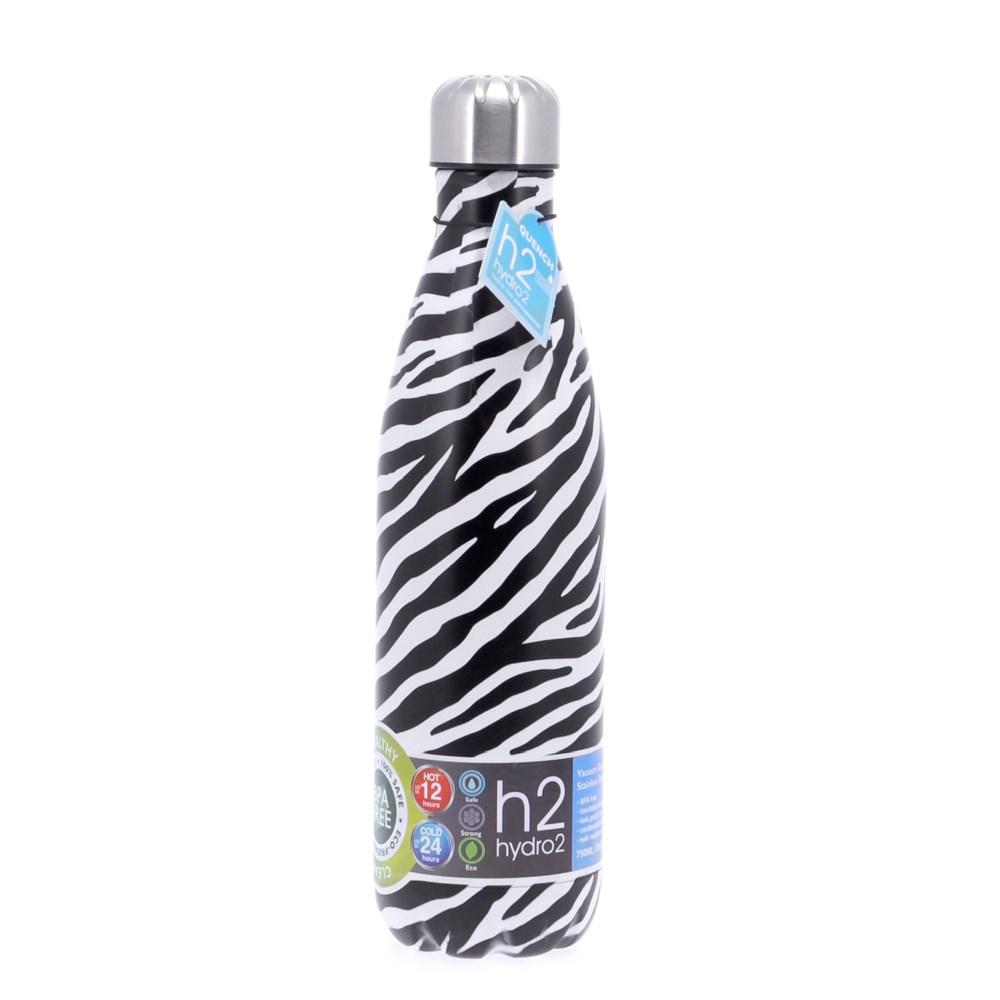 h2 hydro2 Quench Double Wall Stainless Steel Water Bottle 750ml Zebra