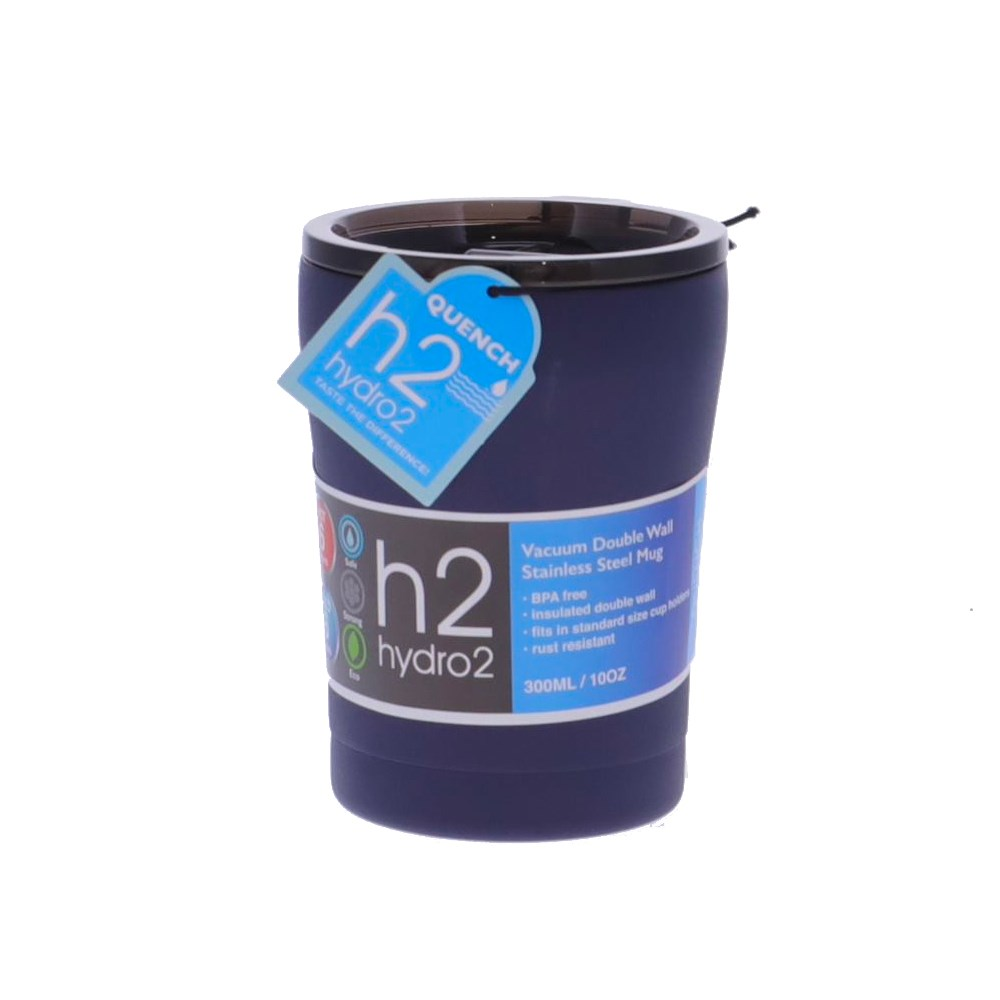 h2 hydro2 Quench Double Wall Stainless Steel Travel Mug 300ml Navy