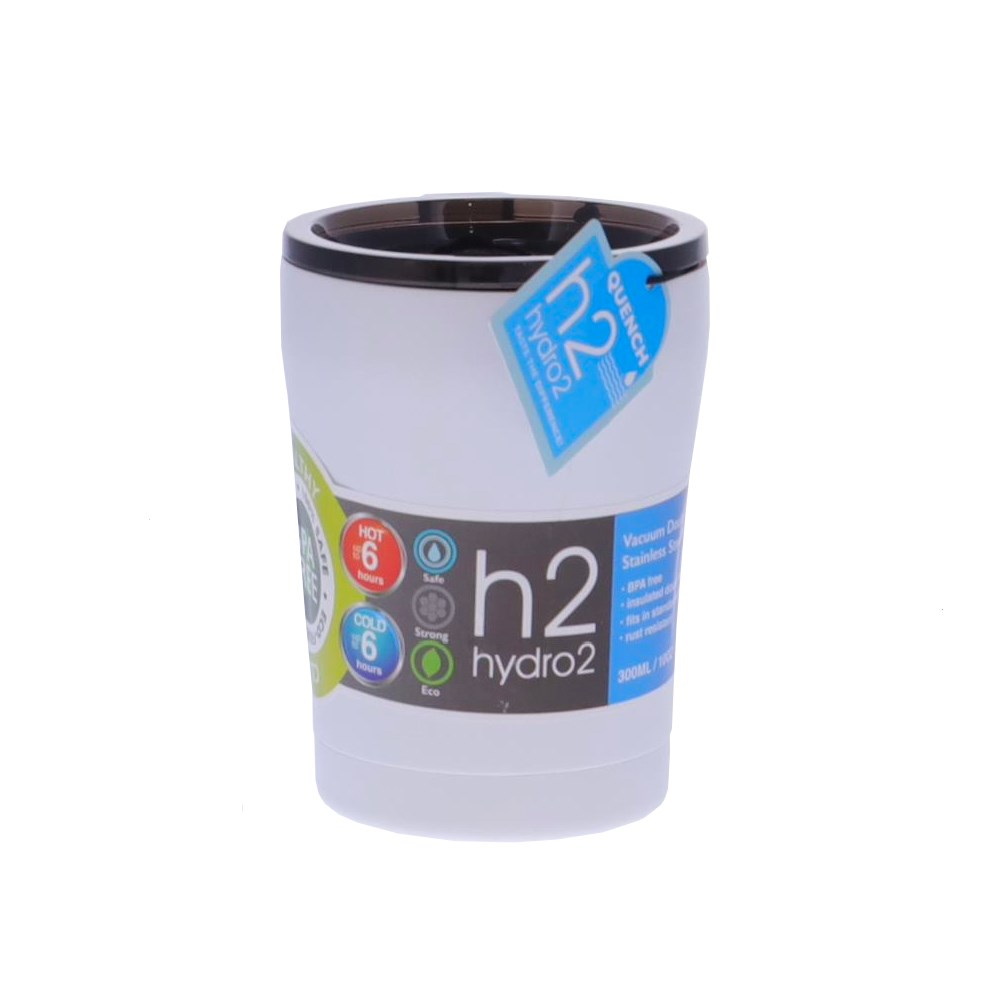 h2 hydro2 Quench Double Wall Stainless Steel Travel Mug 300ml White
