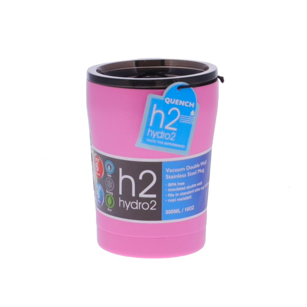 h2 hydro2 Quench Double Wall Stainless Steel Travel Mug 300ml Pink