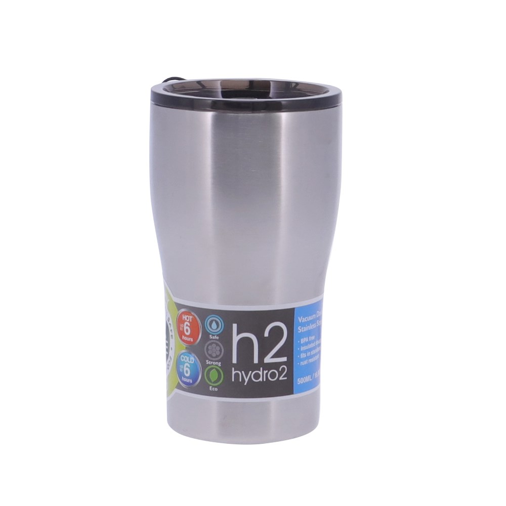 h2 hydro2 Quench Double Wall Stainless Steel Travel Mug 500ml Silver