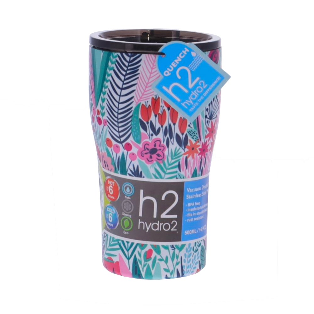 h2 hydro2 Quench Double Wall Stainless Steel Travel Mug 500ml Floral