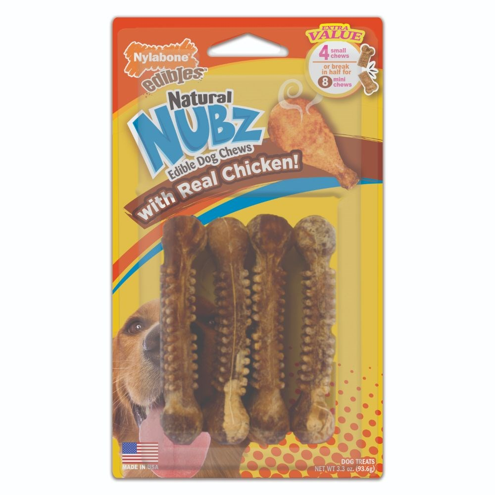 Nylabone Natural Nubz Chicken & Bacon Small Dog Chews 4 Pack