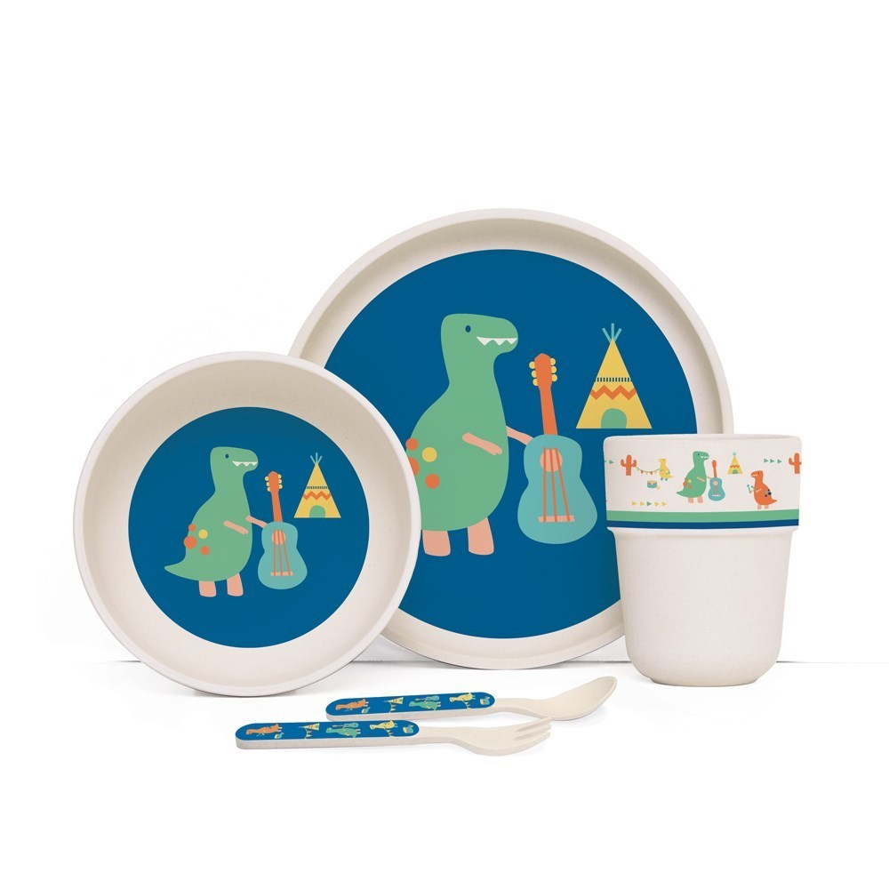 Penny Scallan Dino Rock Bamboo Kids Meal Set with Cutlery