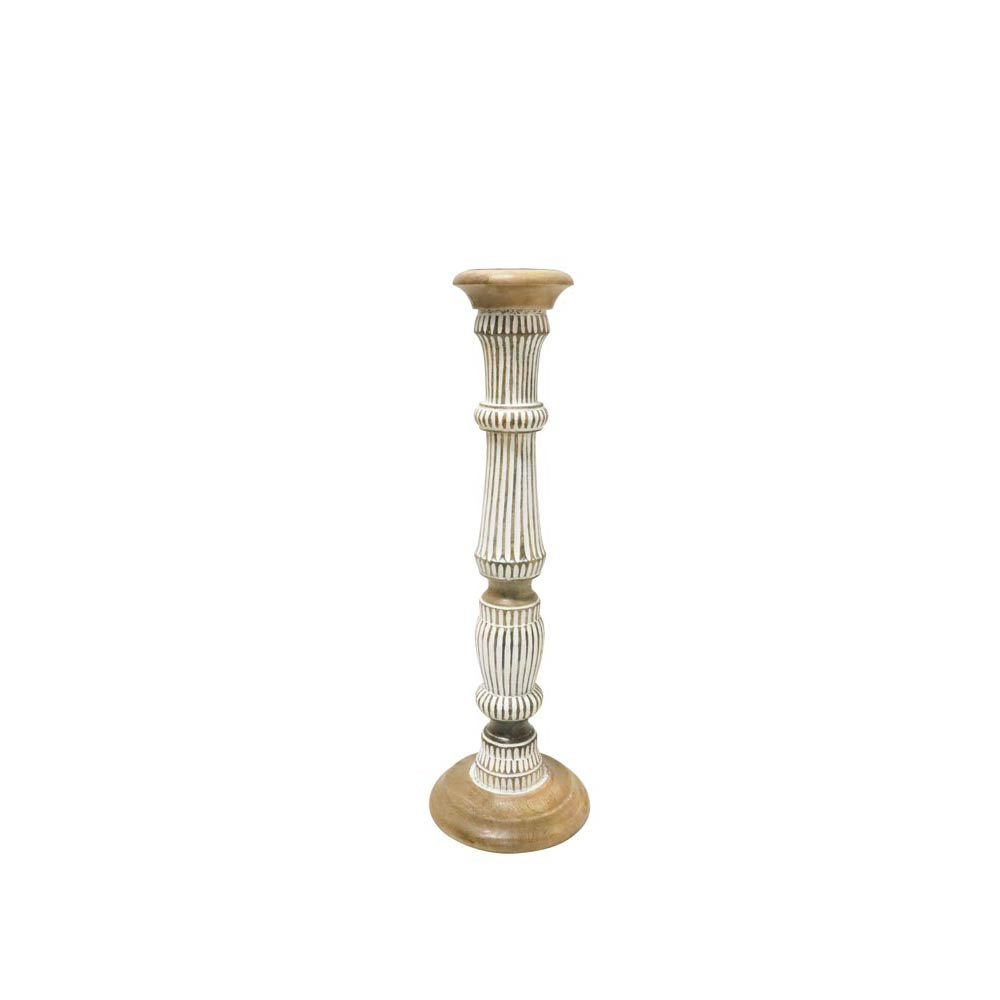 Stoneleigh & Roberson Sunil Wood Carved Candle Holder 56cm
