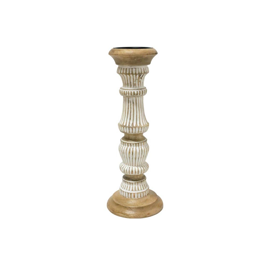 Stoneleigh & Roberson Sunil Wood Carved Candle Holder 38cm
